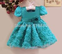 NEW Fashion Children BLUE Girls Flower Dress Children Princess Party Dress girl s summer dress Kids Clothing