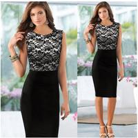 Hot Sale 2014 Autumn Women Sleeveless Lace Dress Fashion Patchwork Pencil Dress Ladies Elegant Office Dresses