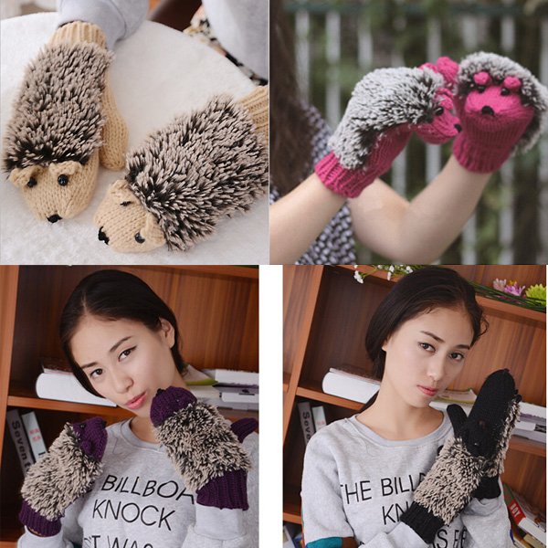 Free Shipping 1 pair Attractive Grey/Pink/Khaki/Purple Lovely Cartoon Hedgehog Heated Gloves for Ladies and Girls(China (Mainland))