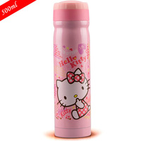 Free Shipping Retails Winter Thermal Insulation Water Bottles 2015 Hot Sell Vacuum Flasks Hello Kitty Travelling Kettle 500ml
