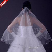 Women Lady Handmade white Wedding Bridal elbow Satin Edge Veil Head