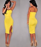 new 2014  sexy dress up his chest open fork pure color purse hip dress party dresses vestido de festa free shipping