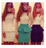 2014 nwe casual Womens Bodycon Bandage lace dress Long Sleeve autumn Slim sexy evening Party Clubwear mini Dress