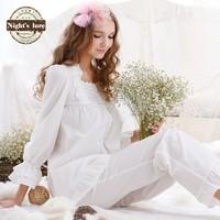 Wire autumn new arrival vintage princess lace 100% cotton comfortable sweet sleepwear female lounge set