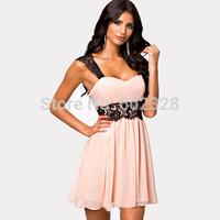 Free Shipping Women's Lace Edge Strape Sexy Evening Dress