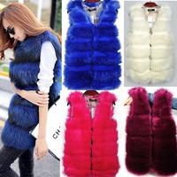 2014  Women Faux Fur Vest Winter Long Vest Sleeveless Luxury Fur Coat  fashion Slim Fur Vest hight qualtiy fur coats