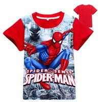 Spiderman Children's T-shirt Summer Boy Short Sleeve T-shirt Top Spider-man Cotton Shirts Kids Roupa Infantil Menino