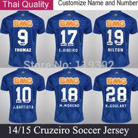 Top Thailand Quality 14 15 Soccer Jerseys Cruzeiro Original NILTON Cruzeiro Jersey Home Blue Camiseta Cruzeiro Futebol Shirt