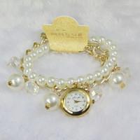 Special Offer Korean New Fashion Casual Girl Smart Crystal Pendant Wristwatch,Luxury Women Leisure Pearl Bracelet Quartz Watches