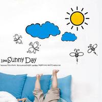 Cartoon children wall development center for kindergarten cute bee clouds the sun sunny wall stickers