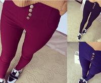 2015 free ship 4 Buttons warm leggings high waist leggings pencil women leggins thin slim woman pants jeans legins