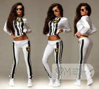 New sport suit women 3d printed sweatshirt woman tracksuits hoodies+pants 2pic/lot clothing set striped sports costumes