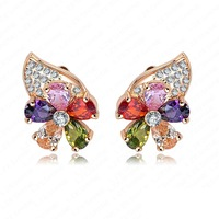 Flower Crystal Earrings 18K Gold Plate Earrings Fashion Accessories 13*18mm Mix Colors Options ER0081-C