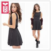 Drop ship!new 2015 brand Deep V-neck backless bowknot wave point cotton Tank dress high waist sleeveless A-line dress