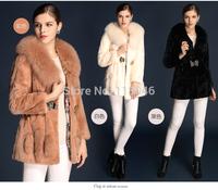 z83 New 2014 winter warm autumn real rex rabbit fur coat jacket luxury womens overcoat slim natural fox fur collar outwear parka