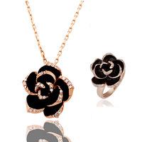 Black Rose upscale beautiful camellia ring necklace piece suit - love beautiful 1223-105 ( 2 colors )