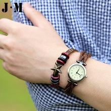 J M 2015 New Design Round Quartz Watch For Women Vintage Lychee Emboss Braided Star Bangle