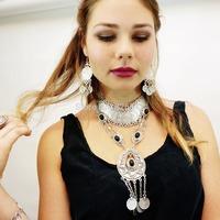 Gypsy Bohemian Black Beads Statement Long Tassel Necklace Festival Silver Fringe Bib Coin Ethnic Turkish India Tribal