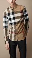 Top Quality New 2014 Men British Long Sleeve Plaid Shirts/Designer Big Check Casual Shirt/Tops #9011 size M-XXL free shipping