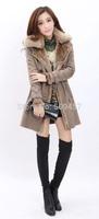 2014 Best NEW Women's Winter Fashion ONE FUR Coat Turn-Down Collar Female Sheepskin Wool-One Outerwear WZ02