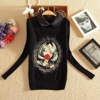 Women Black Printed Pullover Sweater Turndown neck Knitwear Full sleeve Blusas De Inverno knitted Ricotado Casacos Femininos F50