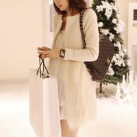 2014 New Arrival Women Long Sleeve Patchwork Faux Fur Coat Autumn Winter Women Medium Long Cardigan Woolen Coat Jacket