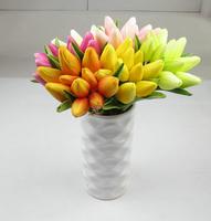 PU Feel mini Tulip artificial flowers 10 pcs/lot  wedding decoration household 6 colors 28cm