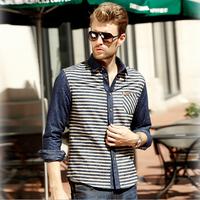 Brand men shirts 100% cotton jean casual slim fit blue striped mens shirt high quality ventilate antibacterial property