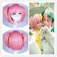 Free Shipping +Free gift hairnet  Puella Magi Madoka Magica pink cosplay wig