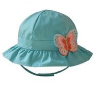 2015 New Children Caps Green Color Hat Summer Sunbonnet  Bucket Colorful Butterfly Girls Beach 5 Size  46cm,48cm,50cm,52cm,54cm