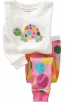 Free shipping Kids pajamas Girls Pyjamas Baby embroider design Toddler  Baby Girls pajamas Retail1set  2pcs C53