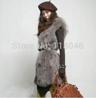 z96 New autumn winter real fox fur vest casual women waistcoat plus size ladies vests gilet warm slim coat jacket wholesale