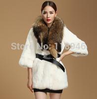 z97 New European winter women genuine rabbit fur coat jacket elegant lady warm coats jackets casual warm big overcoat