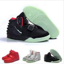 hombres de marca yeezy Aire 2 hombre zapatos deportivos octubre rojo hip hop Kanye West rosa negro brillo en los entrenadores oscuros(C