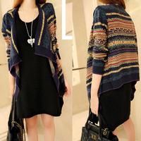 Spring Autumn Female Top Women Poncho Pull Femme Knitwear Fashion Casual Asymmetrical Sweater Knit Aztec Cardigan Coat Outerwear