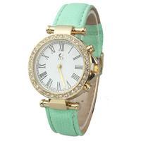New Arrive Golden Scale Roman Dial Ladies Wristwatch, Women Dress Watches Leather Strap Charm Rhinestone quartz Watch