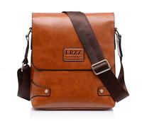 LRZZ Men's Business One Single Shoulder Messenger Bag For Men PU Leather Quality Black Luxury Charm Bag Men 6600-1