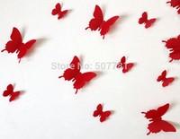 [Free shipping] DIY 12Pcs/lot 3D Removable Decorative Butterflies Wall Stciker For Kids Room Christmas Art Wall Decals Decor