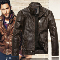 2014 new fashion men's brand motorcycle genuine leather clothing ,men's fall and winter leather jacket,Free shipping, 8805