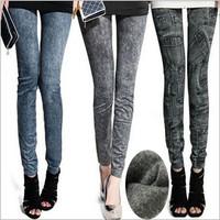 2015 Fashion Leggings Fleece Warm Women Trousers Women Faux Denim Jeans Leggings Thicken Pants LE0001
