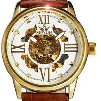 Gorgeous Golden Skeleton Mechanical Watch Fashion Leather Strap Hot Watches Men Luxury Brand Stylish Dress relogio masculino odm