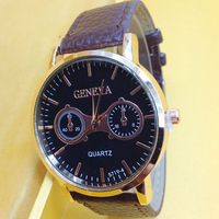 2015 New Brand Geneva  Students Fashion Lovers PU leather Wristwatches Round Quartz Color Watches 100pcs/lot free express cost