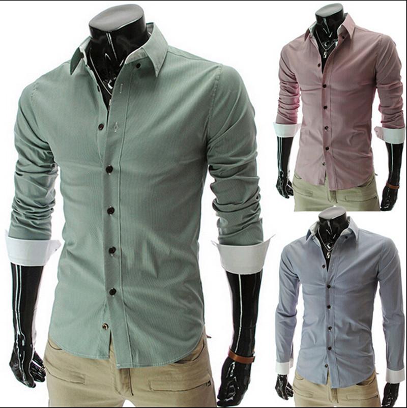 2014 Novas listras camisas para homens Casual Mens camisas de vestido Slim Fit Masculino Camisa Camisa Masculina social Men Chemise Homme(China (Mainland))