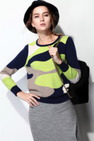 Unique color block big o-neck thick thermal marten velvet sweater pullover