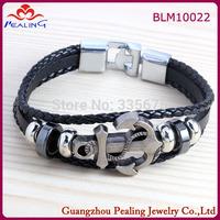 Hot Sale Fashion Multilayer Women Men's Leather Strap Bracelets & Bangles with Anchor Vintage Bracelet