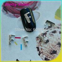 100pcs of New Arrive Letter F Alloy Nail Arts Decoration Professional nail art supplier wholesale