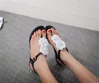 women melissa flat sandal flip flop camellia flower sweet jelly  buckle strap  PVC beach sandal free shipping