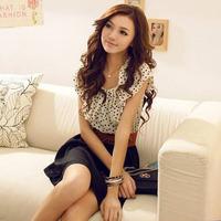 2014 new style Collect waist dress Lotus leaf sleeve chiffon dress without belt free shipping