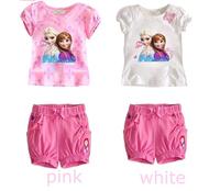 2014 baby girl clothing set, Retail sale! baby girls bow Anna & Elsa short t shirt + pants children  Free Shipping LK-T2