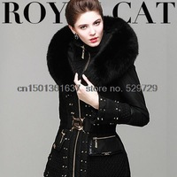 Free shipping top high-end limited edition ! Rivet Heavy luxurious fox fur collar Slim Down female winter jacket